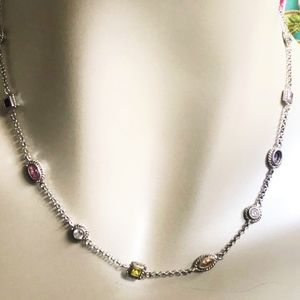 Pretty Sterling CZ Gemstone Bezel Station Necklace